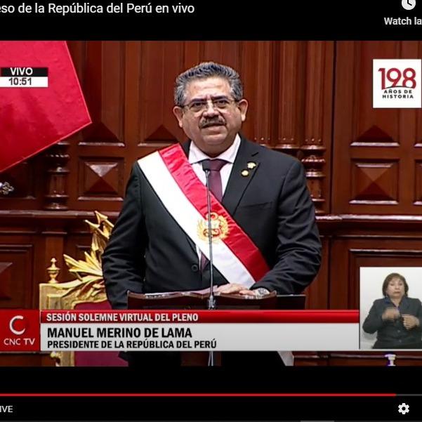 11-10-2020 - Manuel Merino de Lama asume Presidencia del Peru - Sesión Solemne Congreso