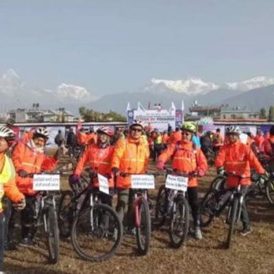 साईकल बारे आफ्नो अनुभब सुनाउँदै महजोडी @ Tour de Pokhara 2019