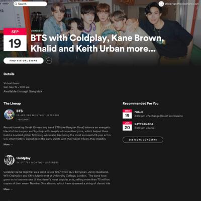 Virtual Events on Spotify