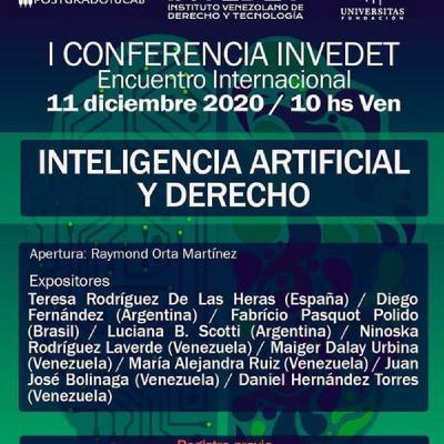 Inteligencia Artificial y Derecho Panel - Parte 2 - 1ra. Conferencia  INVEDET 2020