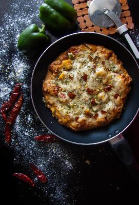 132: How to Make Cheese Burst Pizza in a Kadhai - No Oven and No Yeast