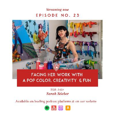 Facing her work with a pop color, Creativity  & fun with Artist Sarah Stieber