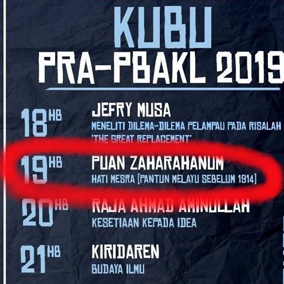 KUBU@PRA-PBAKL2019 (Puan Zaharahanum: Pantun Melayu Sebelum 1914)
