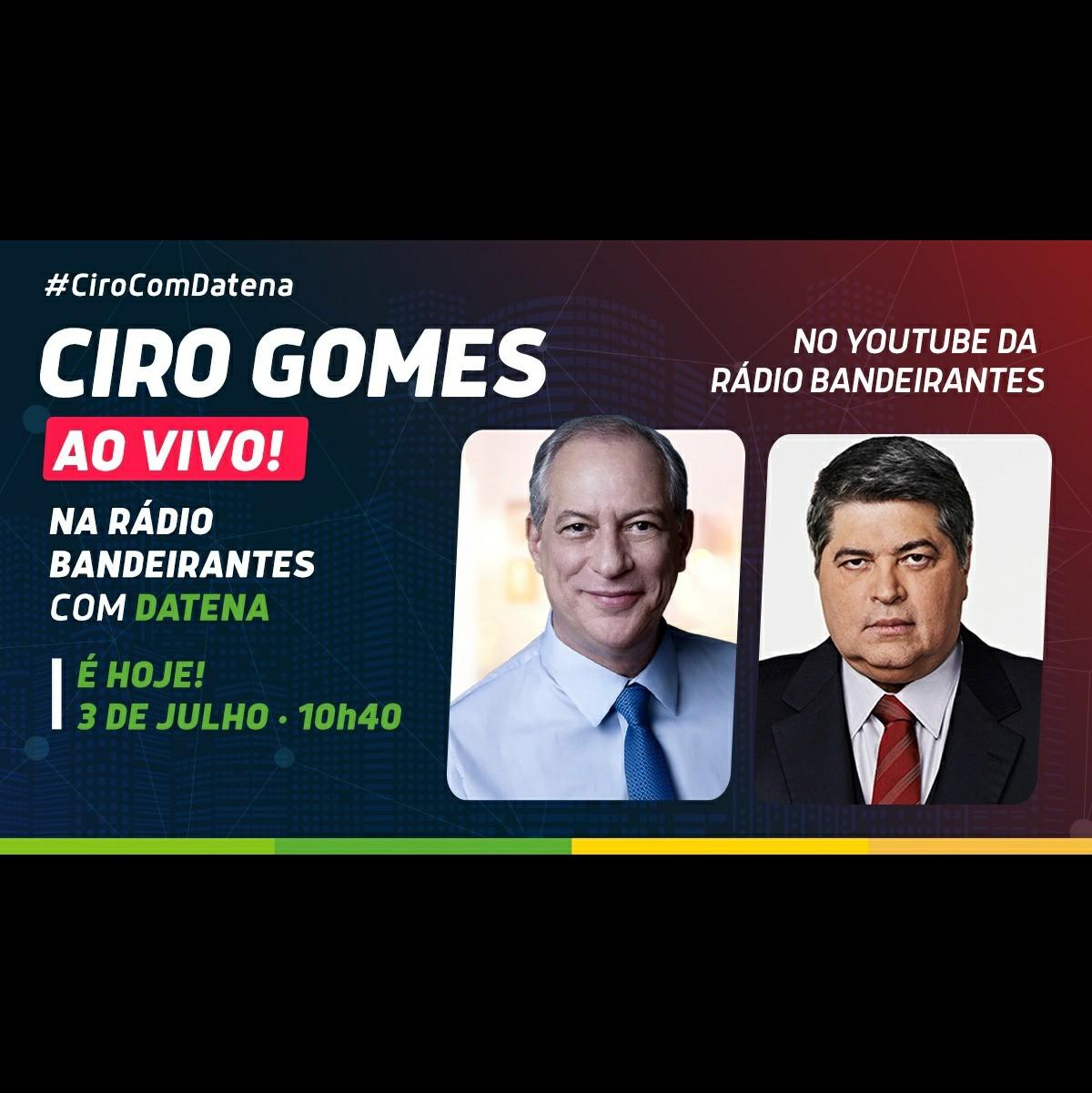03/06/2020   Ciro Gomes conversa com Datena na Rádio Bandeirantes.