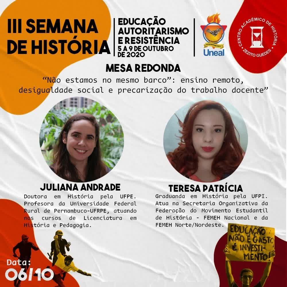 III SEMANA DE HISTÓRIA - 6_10_2020 - Campus I - UNEAL