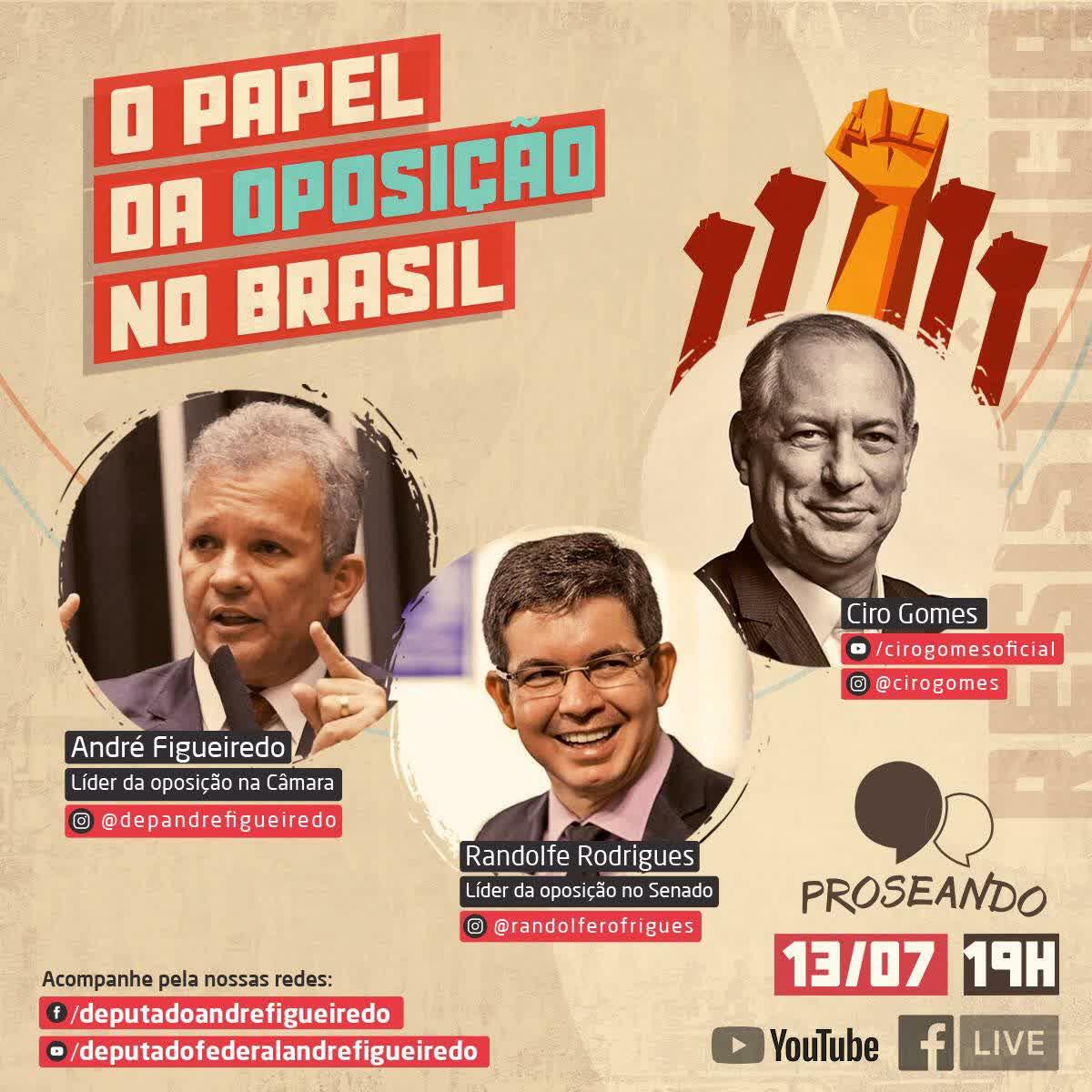 13/07/2020   Ciro Gomes, Randolfe Rodrigues e André Figueiredo; O Papel da Oposição no Brasil.