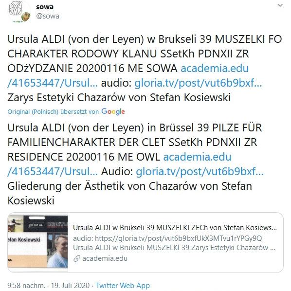 Ursula ALDI (von der Leyen) w Brukseli 39 MUSZELKI ZECh von Stefan Kosiewski FO CHARAKTER RODOWY KLANU SSetKh PDNXII ZR ODzYDZANIE 20200115 ME SOWA