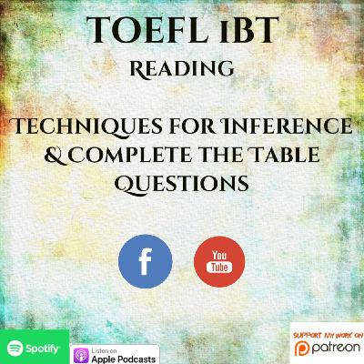 TOEFL iBT | Reading | Techniques for Inference & Complete the Table Questions