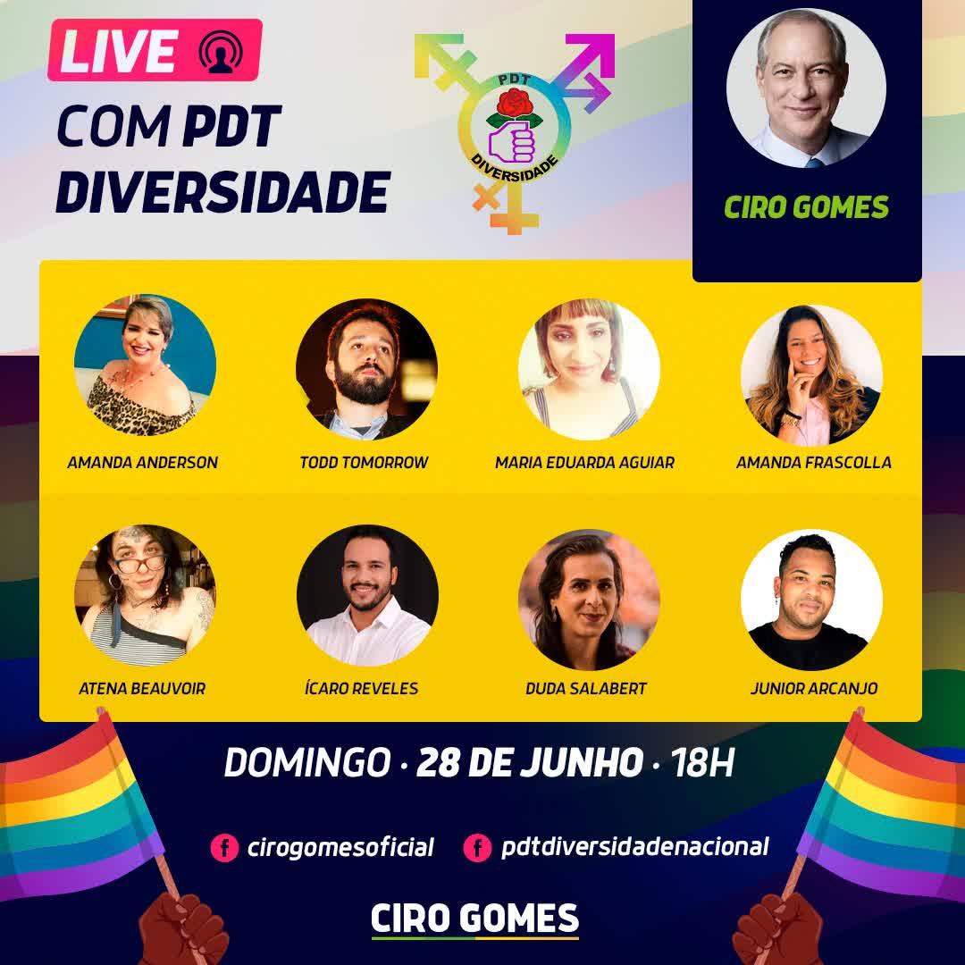 28/06/2020   Ciro Gomes e PDT Diversidade falam sobre o orgulho em resistir