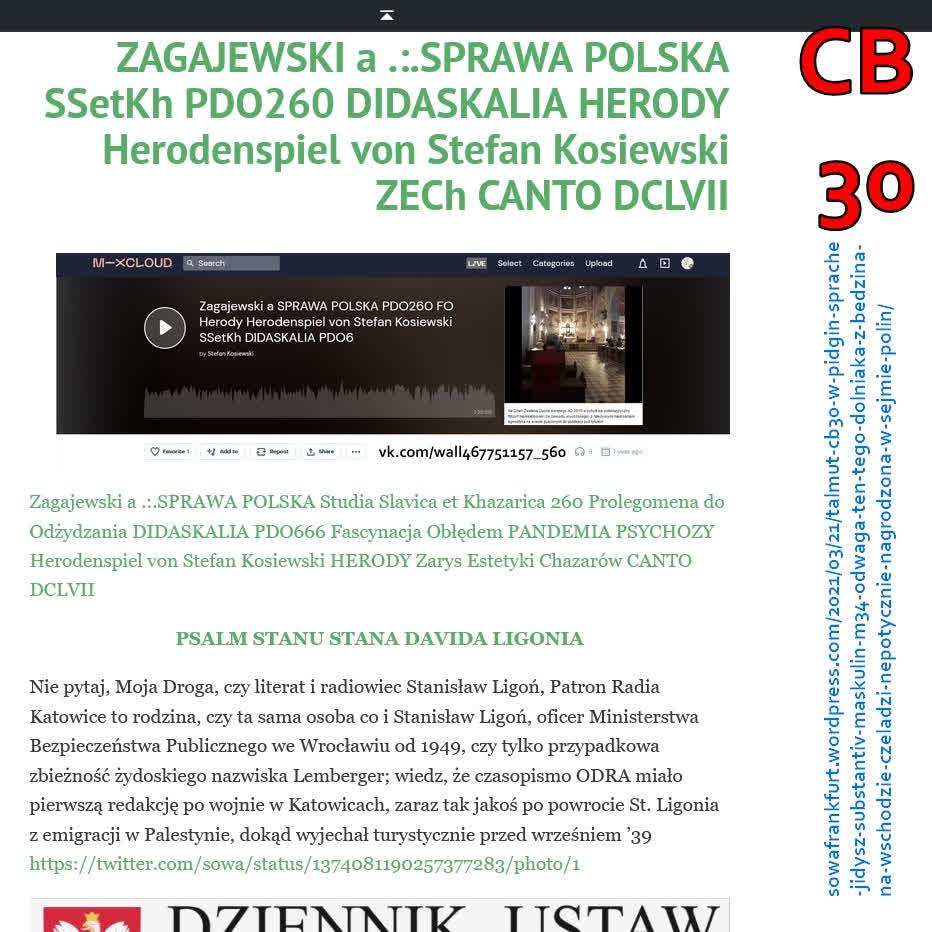 Zagajewski a SPRAWA POLSKA PDO260 FO Herody Herodenspiel von Stefan Kosiewski SSetKh DIDASKALIA PDO666