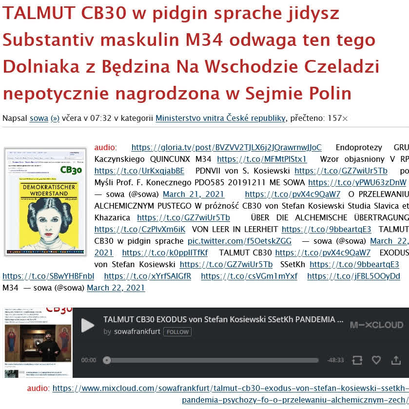 TALMUT CB30 EXODUS von Stefan Kosiewski SSetKh PANDEMIA PSYCHOZY FO O PRZELEWANIU ALCHEMICZNYM ZECh ZR 20210322 ME SOWA