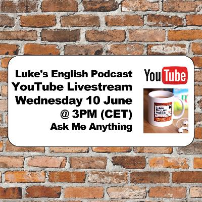 Announcement: I'm doing a YouTube Live Stream on Wednesday 10 June at 3PM CET